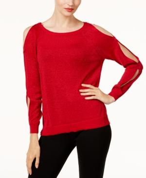 Vince Camuto Cold-Shoulder Sweater In Radiant Red