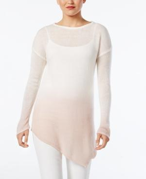 Vince Camuto Dip-Dyed Asymmertical-Hem Sweater In Rose Buff