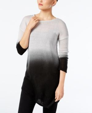 Vince Camuto Dip-Dyed Asymmertical-Hem Sweater In Light Heather Grey