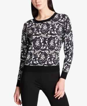 Dkny Lace-Print Sweater In Black/White