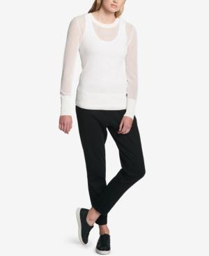 Dkny Cotton Mesh Sweater In White