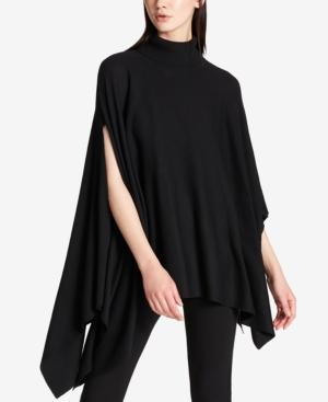 Dkny Asymmetrical Turtleneck Poncho In Black