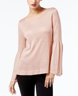 Calvin Klein Bell-Sleeve Sweater, A Macy's Exclusive Style In Blush