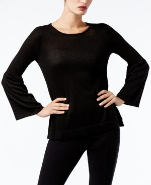 Calvin Klein Bell-Sleeve Sweater, A Macy's Exclusive Style In Black