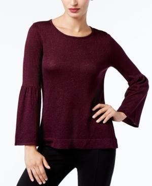 Calvin Klein Bell-Sleeve Sweater, A Macy's Exclusive Style In Aubergine