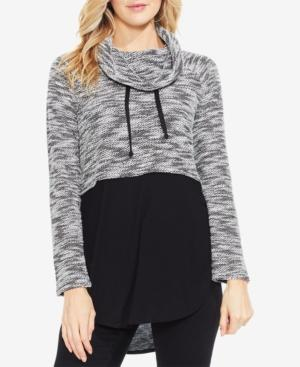 Vince Camuto Space-Dyed Mixed Media Top In Rich Black