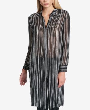 Dkny Striped Tunic Shirt In Black/White