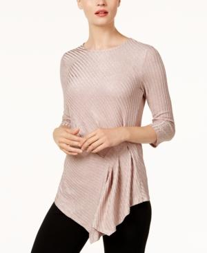 Vince Camuto Draped Metallic Top In Rose Taupe