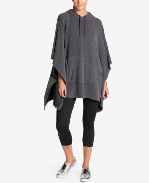 Dkny Sport Hooded Cape Poncho In Heather Grey