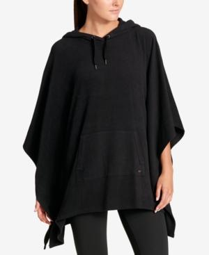 Dkny Sport Hooded Cape Poncho In Black