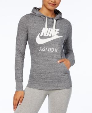 Nike Gym Vintage Logo Hoodie In Carbon Heather