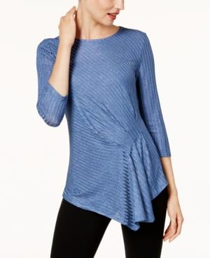 Vince Camuto Draped Metallic Top In Divine Blue