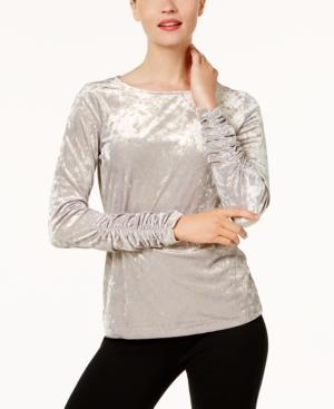 Vince Camuto Ruched Velvet Top In Dove Metal