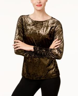 Vince Camuto Ruched Velvet Top In Gold Metal