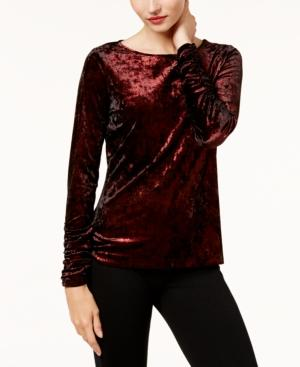 Vince Camuto Ruched Velvet Top In Red Metal