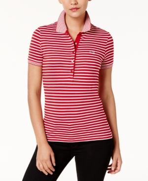 Lacoste Striped Short-Sleeve Polo In Red/White