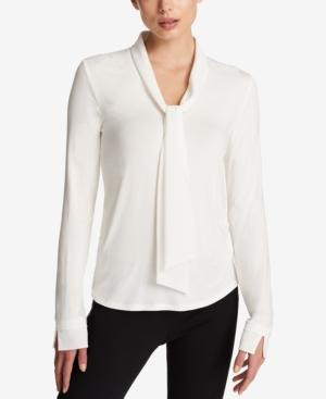 Dkny Tie-Neck Top In Ivory