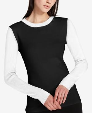 Dkny Cotton Colorblocked Sweater In Black/White