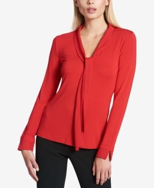 Dkny Tie-Neck Top In Fire Red