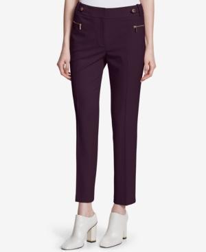 Calvin Klein Embellished Straight-Leg Pants In Aubergine