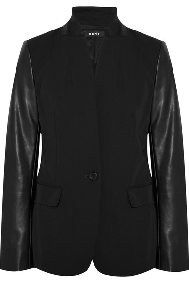 Dkny Twill And Faux Leather Blazer In Black