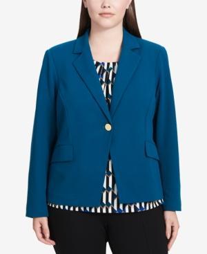 Calvin Klein Plus Size Scuba One-Button Blazer In Cypress
