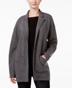 Eileen Fisher Open-Front Wool Jacket In Ash