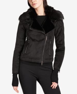 Dkny Faux-Fur-Lined Moto Jacket In Black