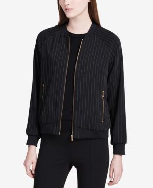 Calvin Klein Pinstriped Bomber Jacket In Black
