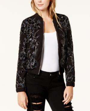 Endless Rose Embellished Bomber Jacket In Black