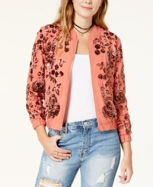 Endless Rose Embellished Bomber Jacket In Pink