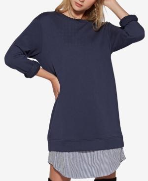 Avec Les Filles Layered-Look Sweatshirt Dress In Navy