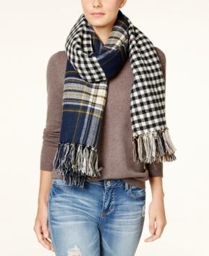 Steve Madden Plaid And Gingham Blanket Wrap & Scarf In One In Navy