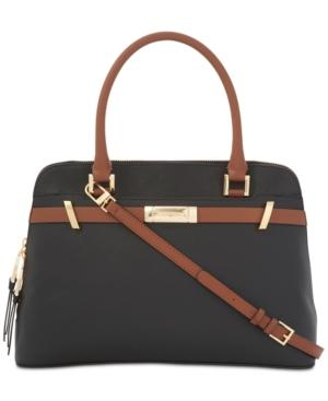 Calvin Klein Brooke Large Dome Satchel In Blk/Luggage