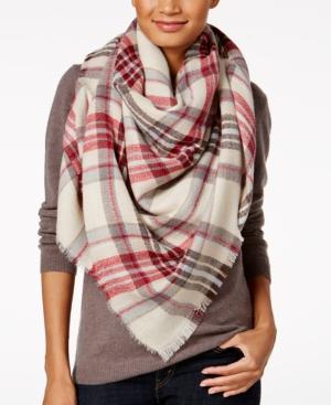 Steve Madden Classic Plaid Blanket Square Scarf In Red
