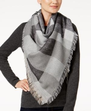 Steve Madden Plaid Blanket Wrap & Scarf In One In Neutral