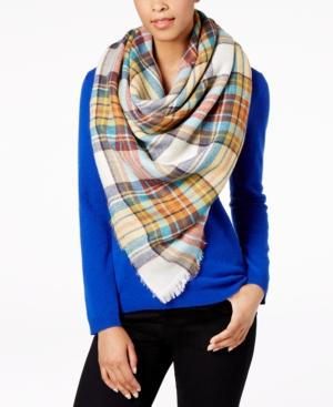 Steve Madden Classic Plaid Blanket Square Scarf In Ivory