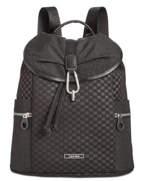 Calvin Klein Quilted Large Flap Backpack In Black/Black