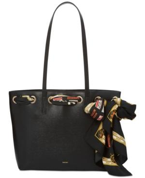 Dkny Large Tote With Scarf, Created For Macy's In Black