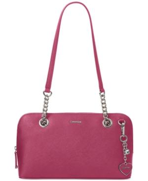 Calvin Klein Saffiano Medium Shoulder Bag In Pomegranate