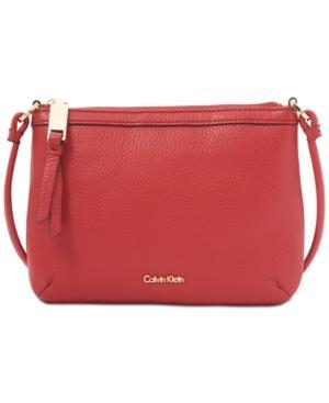 Calvin Klein Carrie Pebble Key Item Crossbody In Red