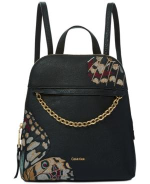 Calvin Klein Hera Pebble Embroidered Small Backpack In Butterfly