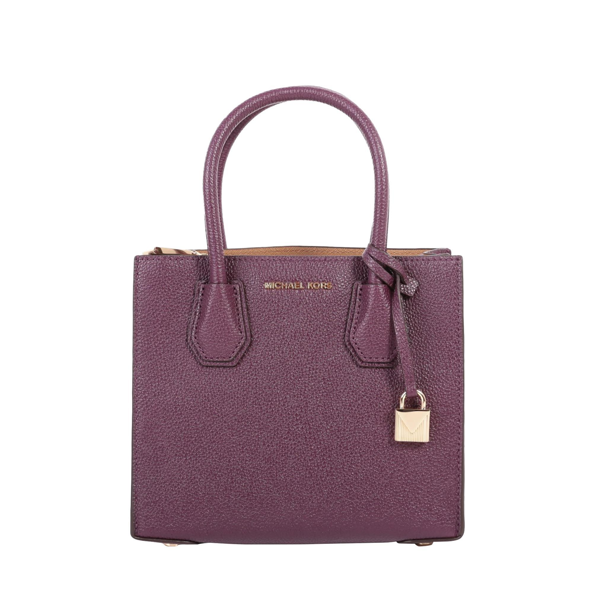 Michael Michael Kors Mercer Leather Bag In Purple