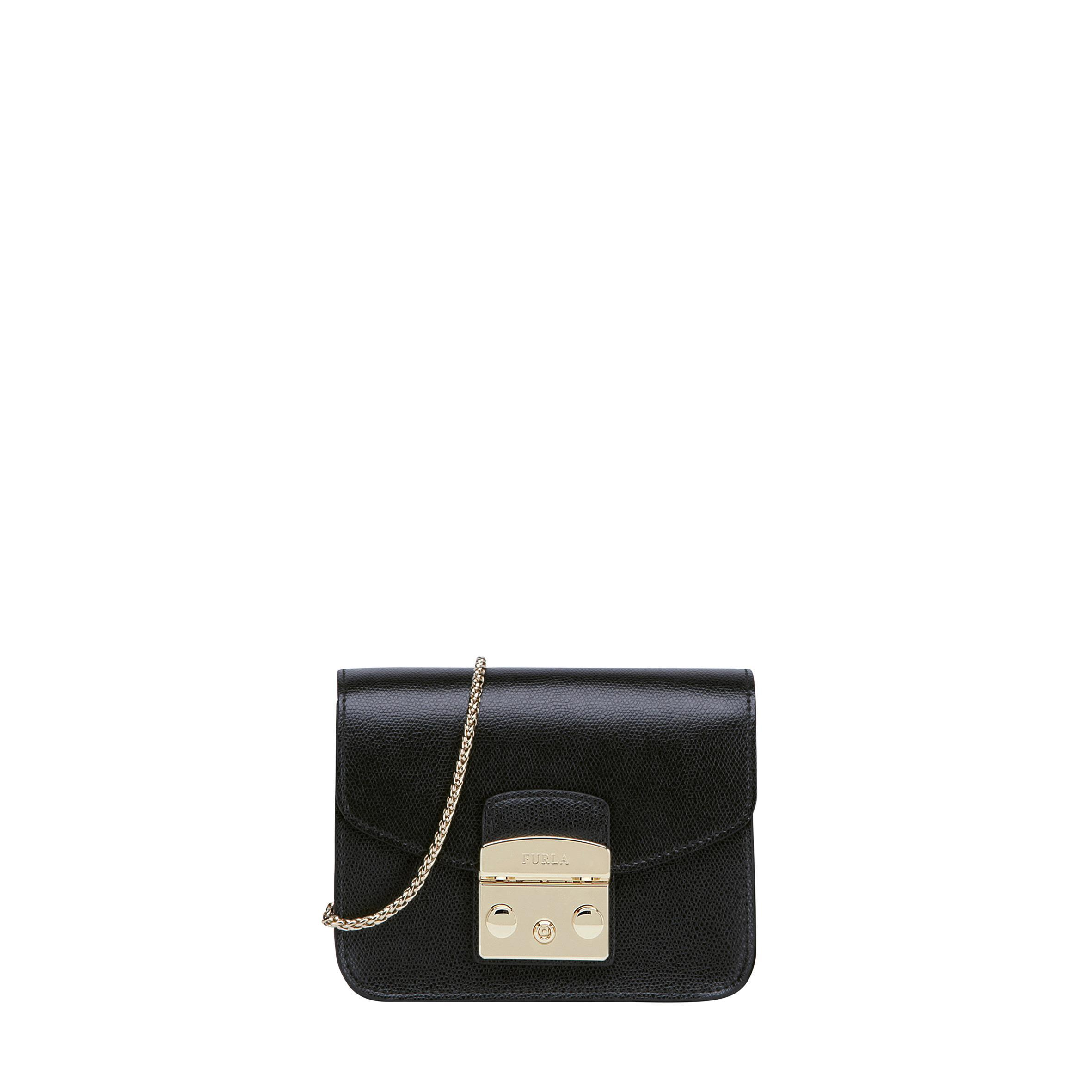 Furla Metropolis Leather Mini Bag In Black
