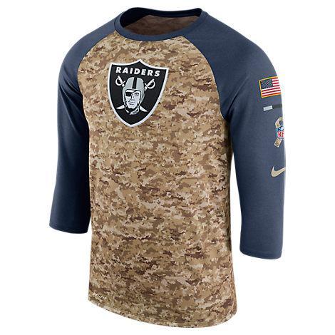 Nike Men's Oaland Raiders Nfl Salute To Service Raglan T-Shirt, Brown