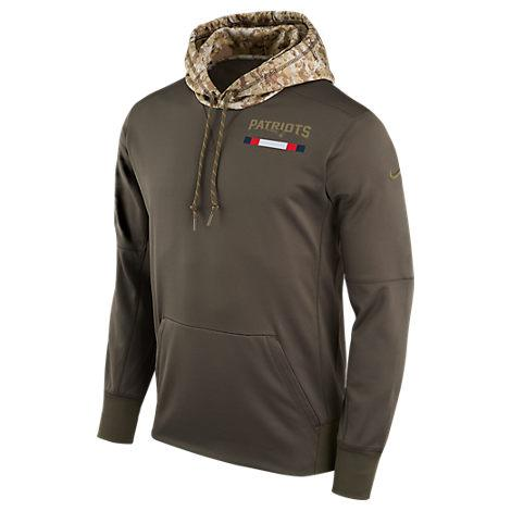 Nike Men's New England Patriots Nfl Salute To Service Therma Pullover Hoodie, Brown