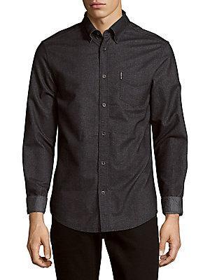 Ben Sherman Brushed Long-Sleeve Cotton Shirt In True Black