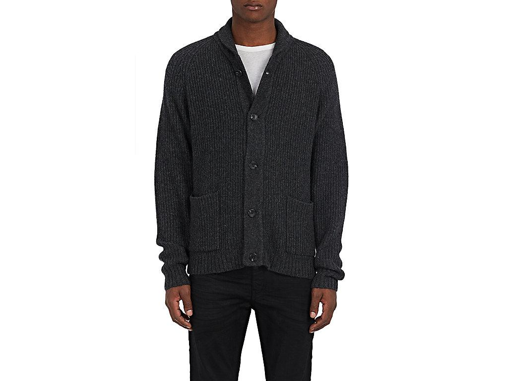 James Perse Rib-Knit Wool-Blend Cardigan In Dark Grey