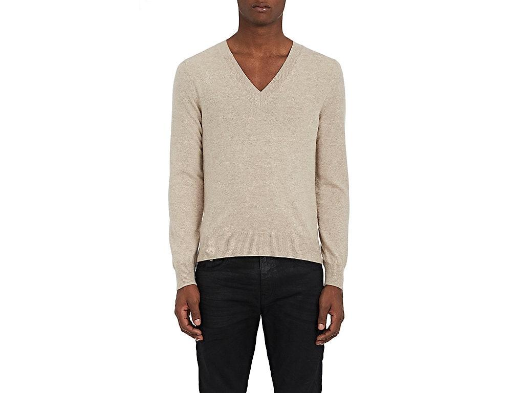 Tomas Maier Stockinette-Stitched Cashmere V-Neck Sweater In Beige,Tan