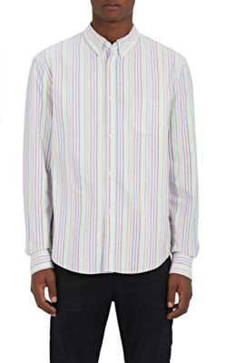 Band Of Outsiders Striped Cotton Oxford Shirt In Light Blue,No Color